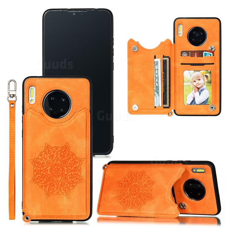 Luxury Mandala Multi-function Magnetic Card Slots Stand Leather Back Cover for Huawei Mate 30 - Yellow