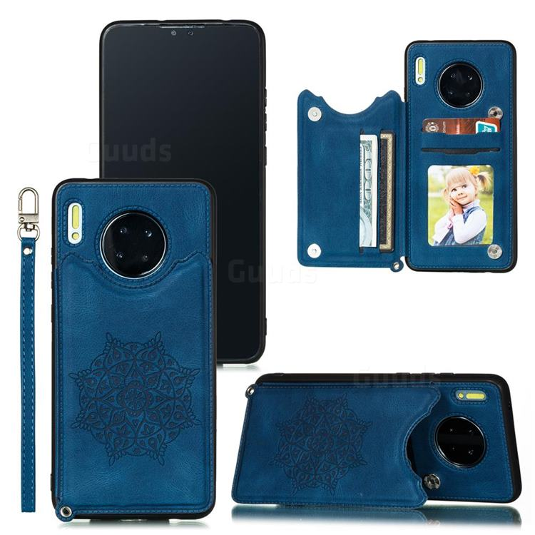 Luxury Mandala Multi-function Magnetic Card Slots Stand Leather Back Cover for Huawei Mate 30 - Blue