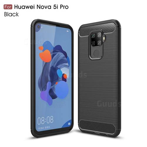 Luxury Carbon Fiber Brushed Wire Drawing Silicone TPU Back Cover for Huawei Mate 30 Lite(Nova 5i Pro) - Black