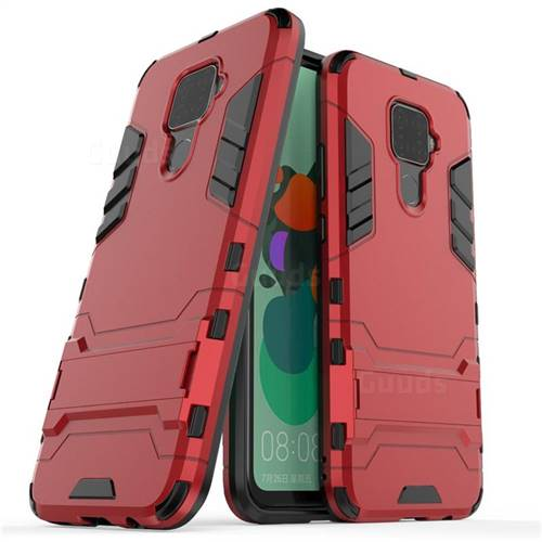 Armor Premium Tactical Grip Kickstand Shockproof Dual Layer Rugged Hard Cover for Huawei Mate 30 Lite(Nova 5i Pro) - Wine Red