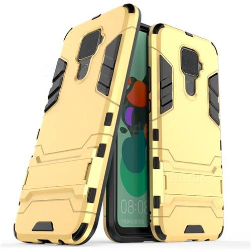 Armor Premium Tactical Grip Kickstand Shockproof Dual Layer Rugged Hard Cover for Huawei Mate 30 Lite(Nova 5i Pro) - Golden