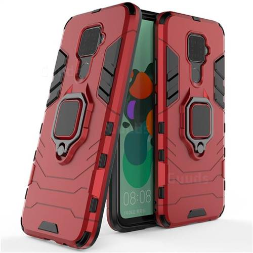 Black Panther Armor Metal Ring Grip Shockproof Dual Layer Rugged Hard Cover for Huawei Mate 30 Lite(Nova 5i Pro) - Red