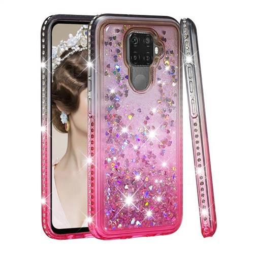 Diamond Frame Liquid Glitter Quicksand Sequins Phone Case for Huawei Mate 30 Lite(Nova 5i Pro) - Gray Pink
