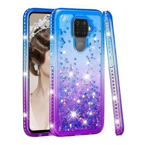 Diamond Frame Liquid Glitter Quicksand Sequins Phone Case for Huawei Mate 30 Lite(Nova 5i Pro) - Blue Purple