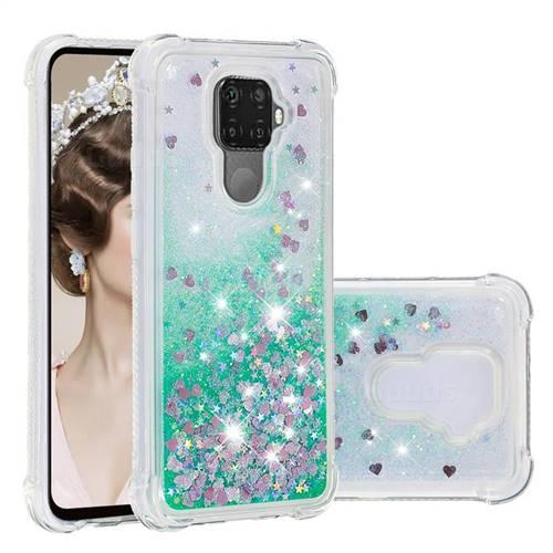 Dynamic Liquid Glitter Sand Quicksand TPU Case for Huawei Mate 30 Lite(Nova 5i Pro) - Green Love Heart