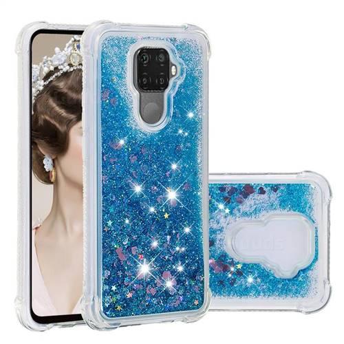 Dynamic Liquid Glitter Sand Quicksand TPU Case for Huawei Mate 30 Lite(Nova 5i Pro) - Blue Love Heart