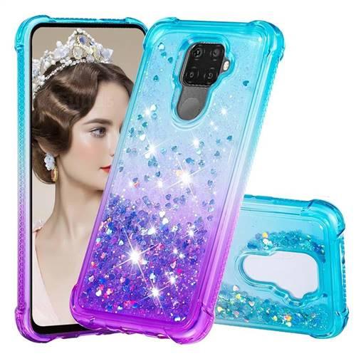 Rainbow Gradient Liquid Glitter Quicksand Sequins Phone Case for Huawei Mate 30 Lite(Nova 5i Pro) - Blue Purple