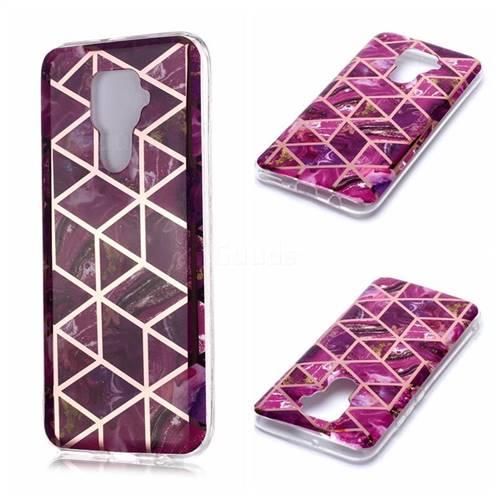 Purple Rhombus Galvanized Rose Gold Marble Phone Back Cover for Huawei Mate 30 Lite(Nova 5i Pro)