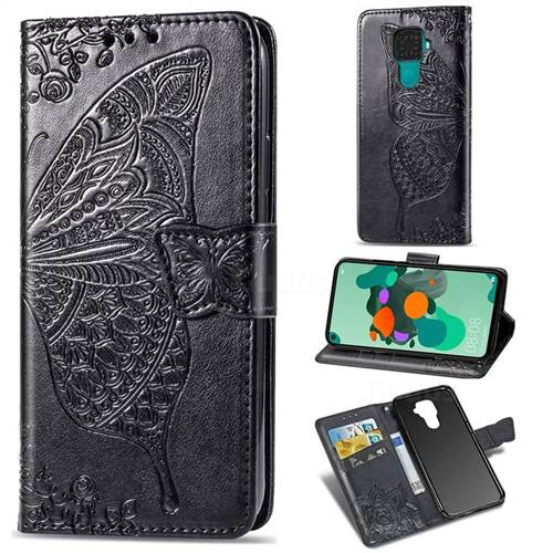 Embossing Mandala Flower Butterfly Leather Wallet Case for Huawei Mate 30 Lite(Nova 5i Pro) - Black