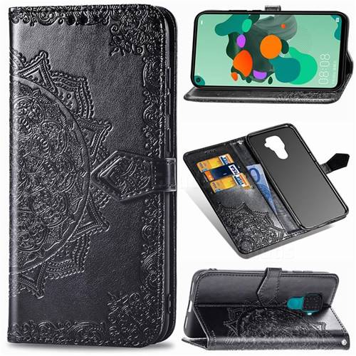 Embossing Imprint Mandala Flower Leather Wallet Case for Huawei Mate 30 Lite(Nova 5i Pro) - Black