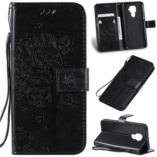Embossing Butterfly Tree Leather Wallet Case for Huawei Mate 30 Lite(Nova 5i Pro) - Black