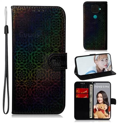 Laser Circle Shining Leather Wallet Phone Case for Huawei Mate 30 Lite(Nova 5i Pro) - Black