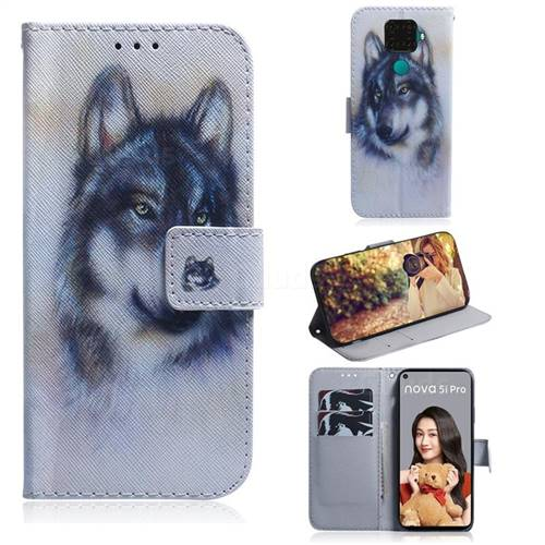 Snow Wolf PU Leather Wallet Case for Huawei Mate 30 Lite(Nova 5i Pro)