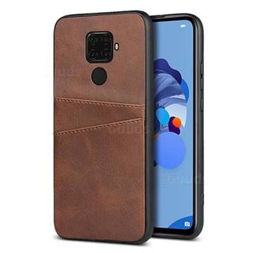 Simple Calf Card Slots Mobile Phone Back Cover for Huawei Mate 30 Lite(Nova 5i Pro) - Coffee