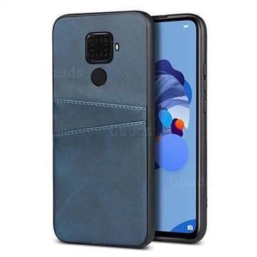 Simple Calf Card Slots Mobile Phone Back Cover for Huawei Mate 30 Lite(Nova 5i Pro) - Blue