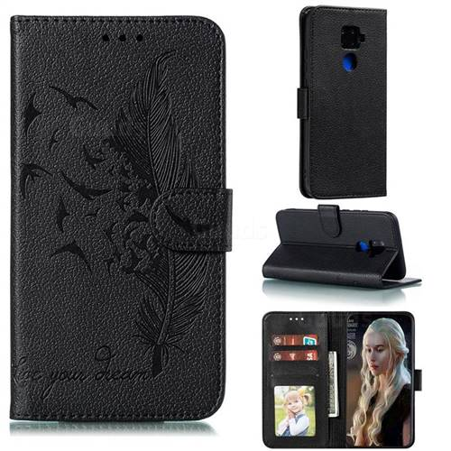 Intricate Embossing Lychee Feather Bird Leather Wallet Case for Huawei Mate 30 Lite(Nova 5i Pro) - Black