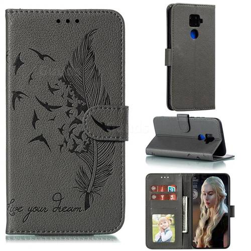 Intricate Embossing Lychee Feather Bird Leather Wallet Case for Huawei Mate 30 Lite(Nova 5i Pro) - Gray
