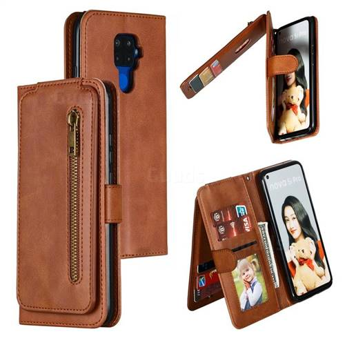 Multifunction 9 Cards Leather Zipper Wallet Phone Case for Huawei Mate 30 Lite(Nova 5i Pro) - Brown
