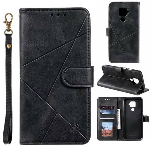 Embossing Geometric Leather Wallet Case for Huawei Mate 30 Lite(Nova 5i Pro) - Black