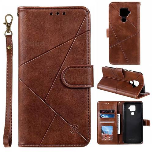 Embossing Geometric Leather Wallet Case for Huawei Mate 30 Lite(Nova 5i Pro) - Brown