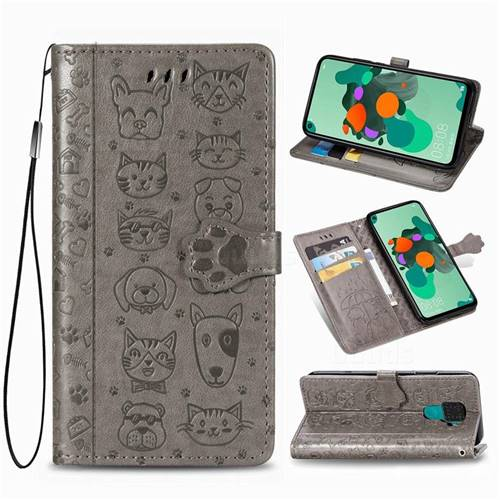 Embossing Dog Paw Kitten and Puppy Leather Wallet Case for Huawei Mate 30 Lite(Nova 5i Pro) - Gray
