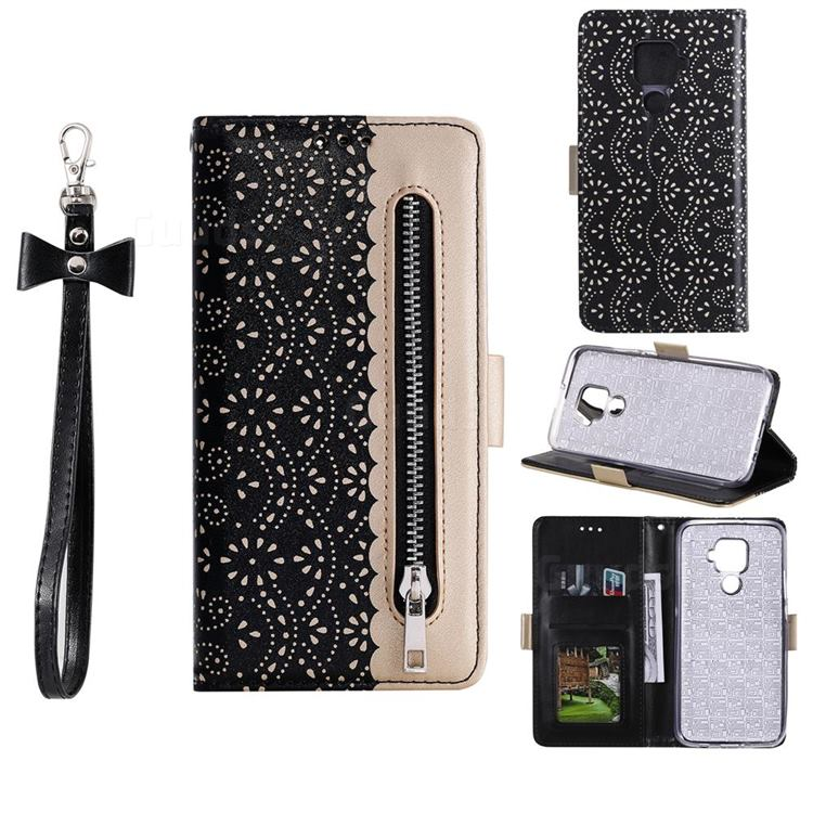 Luxury Lace Zipper Stitching Leather Phone Wallet Case for Huawei Mate 30 Lite(Nova 5i Pro) - Black