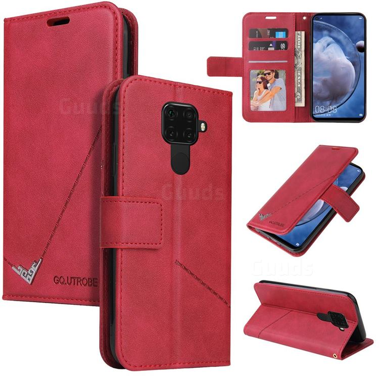 GQ.UTROBE Right Angle Silver Pendant Leather Wallet Phone Case for Huawei Mate 30 Lite(Nova 5i Pro) - Red