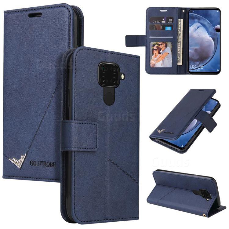 GQ.UTROBE Right Angle Silver Pendant Leather Wallet Phone Case for Huawei Mate 30 Lite(Nova 5i Pro) - Blue