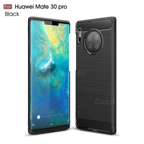 Luxury Carbon Fiber Brushed Wire Drawing Silicone TPU Back Cover for Huawei Mate 30 Pro - Black