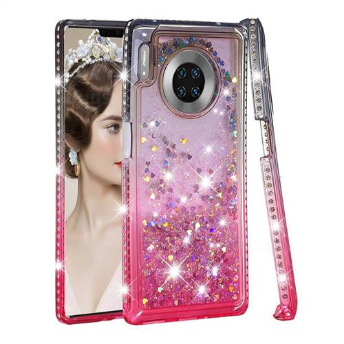 Diamond Frame Liquid Glitter Quicksand Sequins Phone Case for Huawei Mate 30 Pro - Gray Pink