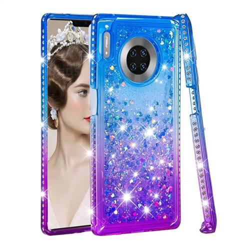 Diamond Frame Liquid Glitter Quicksand Sequins Phone Case for Huawei Mate 30 Pro - Blue Purple