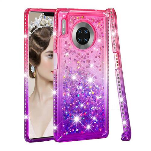 Diamond Frame Liquid Glitter Quicksand Sequins Phone Case for Huawei Mate 30 Pro - Pink Purple