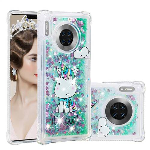 Tiny Unicorn Dynamic Liquid Glitter Sand Quicksand Star TPU Case for Huawei Mate 30 Pro