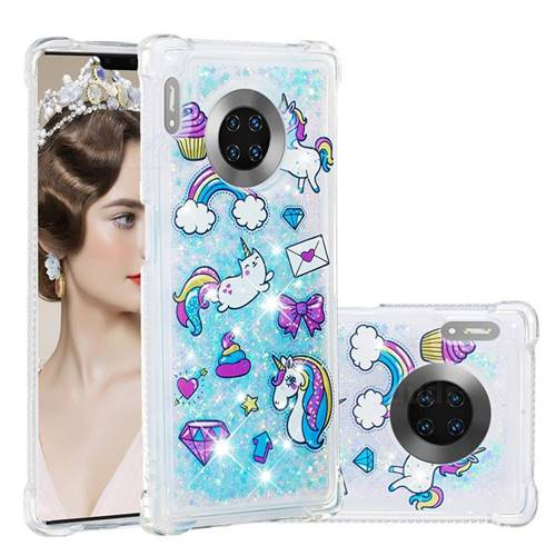 Fashion Unicorn Dynamic Liquid Glitter Sand Quicksand Star TPU Case for Huawei Mate 30 Pro