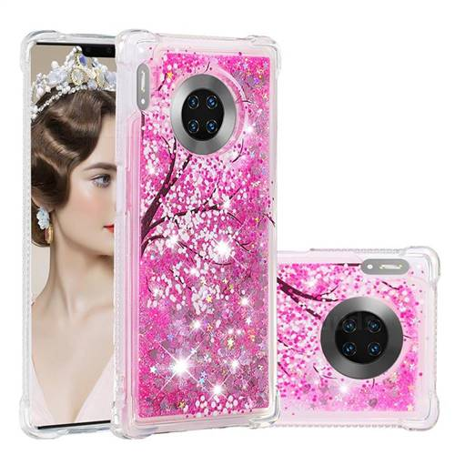 Pink Cherry Blossom Dynamic Liquid Glitter Sand Quicksand Star TPU Case for Huawei Mate 30 Pro
