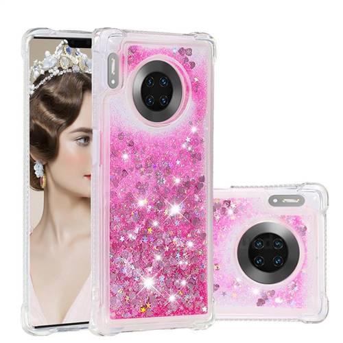 Dynamic Liquid Glitter Sand Quicksand TPU Case for Huawei Mate 30 Pro - Pink Love Heart