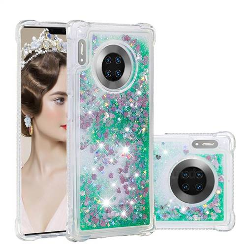 Dynamic Liquid Glitter Sand Quicksand TPU Case for Huawei Mate 30 Pro - Green Love Heart