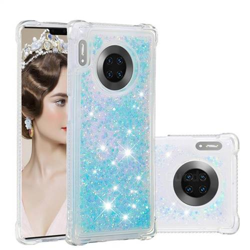 Dynamic Liquid Glitter Sand Quicksand TPU Case for Huawei Mate 30 Pro - Silver Blue Star