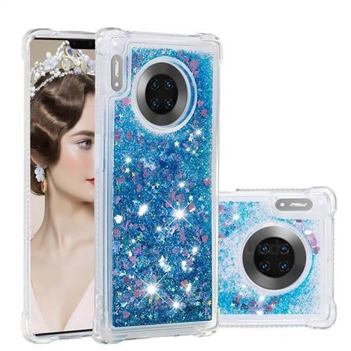 Dynamic Liquid Glitter Sand Quicksand TPU Case for Huawei Mate 30 Pro - Blue Love Heart