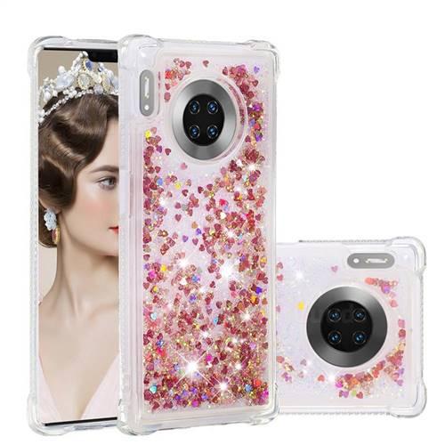 Dynamic Liquid Glitter Sand Quicksand TPU Case for Huawei Mate 30 Pro - Rose Gold Love Heart