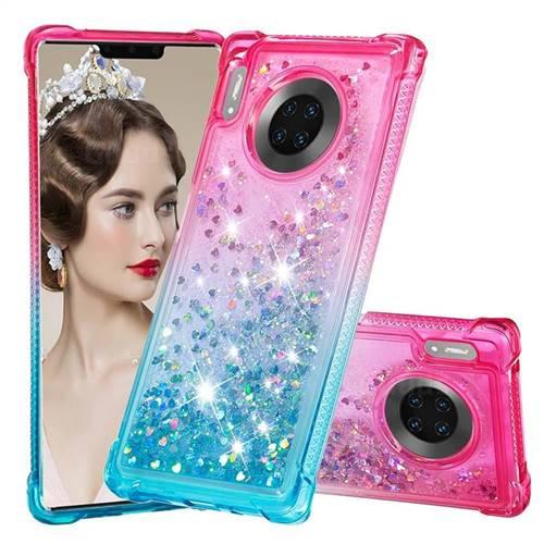 Rainbow Gradient Liquid Glitter Quicksand Sequins Phone Case for Huawei Mate 30 Pro - Pink Blue