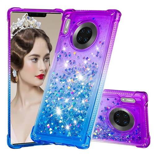 Rainbow Gradient Liquid Glitter Quicksand Sequins Phone Case for Huawei Mate 30 Pro - Purple Blue