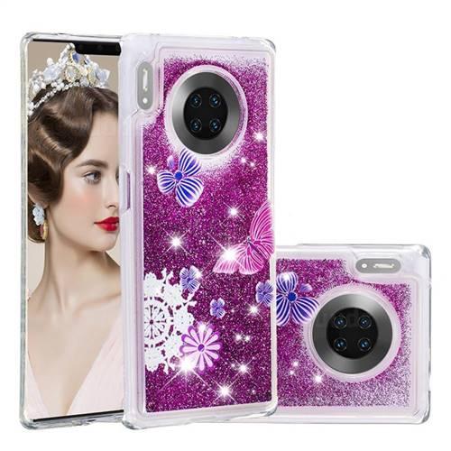 Purple Flower Butterfly Dynamic Liquid Glitter Quicksand Soft TPU Case for Huawei Mate 30 Pro