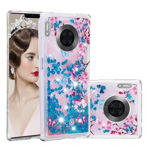 Blue Plum Blossom Dynamic Liquid Glitter Quicksand Soft TPU Case for Huawei Mate 30 Pro