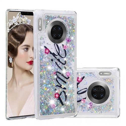 Smile Flower Dynamic Liquid Glitter Quicksand Soft TPU Case for Huawei Mate 30 Pro