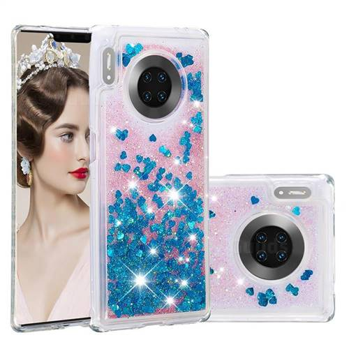 Dynamic Liquid Glitter Quicksand Sequins TPU Phone Case for Huawei Mate 30 Pro - Blue
