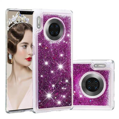 Dynamic Liquid Glitter Quicksand Sequins TPU Phone Case for Huawei Mate 30 Pro - Purple