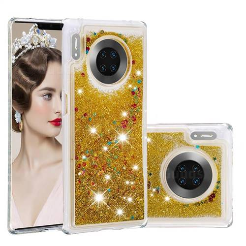 Dynamic Liquid Glitter Quicksand Sequins TPU Phone Case for Huawei Mate 30 Pro - Golden