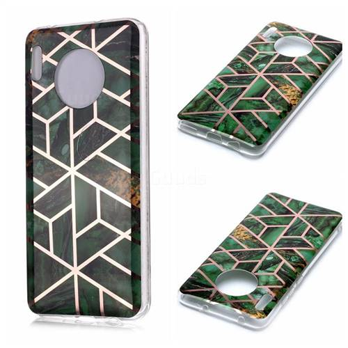 Green Rhombus Galvanized Rose Gold Marble Phone Back Cover for Huawei Mate 30 Pro