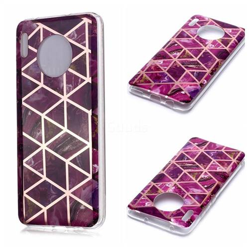 Purple Rhombus Galvanized Rose Gold Marble Phone Back Cover for Huawei Mate 30 Pro